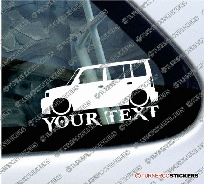 2x Custom YOUR TEXT Lowered car stickers - Toyota bB wagon (2000-2005)